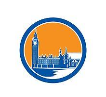Big Ben Clock Tower Westminster Palace Woodcut Retro by patrimonio