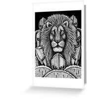 Spartan Lion black and white pen ink surreal drawing Greeting Card