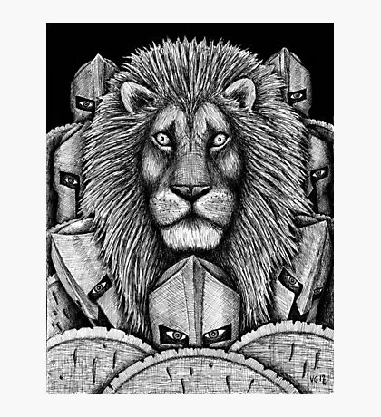 Spartan Lion black and white pen ink surreal drawing Photographic Print