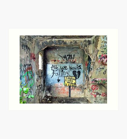 """Ghost Town of Broken Hearts in Ruins:   """"All We Know is Falling </3 Caution Cliff Ahead"""" Art Print"""