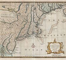 Vintage Map of The New England Coast (1747) by BravuraMedia