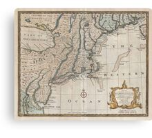 Vintage Map of The New England Coast (1747) Canvas Print