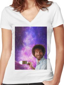 Bob Ross Paints Space Women's Fitted V-Neck T-Shirt
