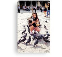 Pigeon Lover Of San Marco, Photo / Digital Painting  Canvas Print