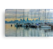 Sail Masts and the Melbourne Skyline - Williamstown, Victoria Metal Print
