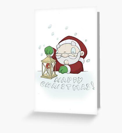 "Santa ""HAPPY CHRISTMAS"" Lantern Greeting Card"