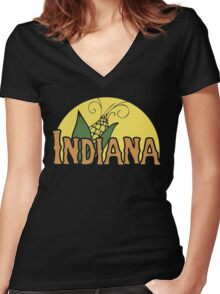 Indiana Retro Logo Women's Fitted V-Neck T-Shirt
