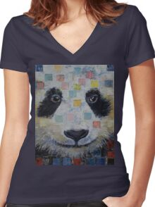 Panda Checkers Women's Fitted V-Neck T-Shirt