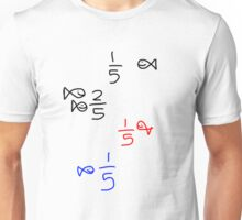 1/5, 2/5, red fifth, blue fifth Unisex T-Shirt