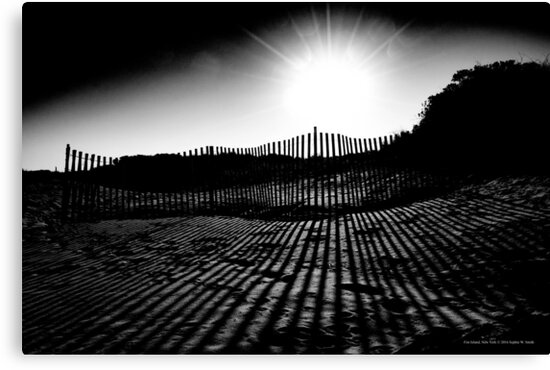 Sun Behind A Sand Fence | Fire Island, New York by © Sophie W. Smith