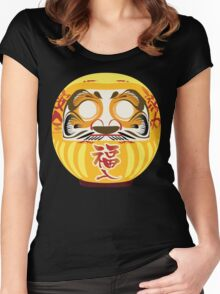 Japanese Art Gold Yellow Women's Fitted Scoop T-Shirt