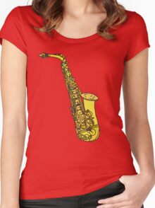 Sax Sketch Women's Fitted Scoop T-Shirt