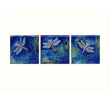 Three Dragonflies Art Print