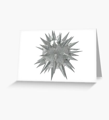 Abstract 3d rendering of low poly mtel sphere with chaotic structure. Sci-fi background. Futuristic shape. Greeting Card