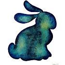 Bunny Rabbit Watercolor Silhouette by Laura Bell
