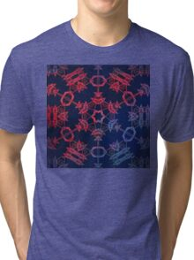 Blue and red glow mandala Tri-blend T-Shirt