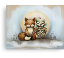 fox and owl Canvas Print