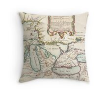Vintage Map of The Great Lakes (1755) Throw Pillow