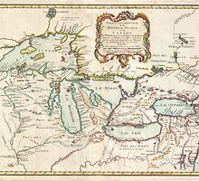 Vintage Map of The Great Lakes (1755) by BravuraMedia