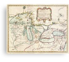 Vintage Map of The Great Lakes (1755) Metal Print