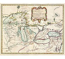 Vintage Map of The Great Lakes (1755) Photographic Print