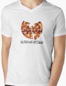 Da Mystery of Chest Bacon (black print) Mens V-Neck T-Shirt
