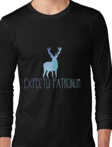 Expecto Patronum Stag - Colourful Blue Silhouette Long Sleeve T-Shirt