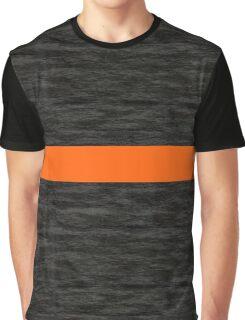 Orange-Striped Faux Texture Black Graphic T-Shirt