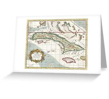 Vintage Map of Cuba and Jamaica (1763) Greeting Card
