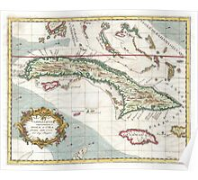 Vintage Map of Cuba and Jamaica (1763) Poster