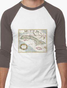 Vintage Map of Cuba and Jamaica (1763) Men's Baseball ¾ T-Shirt