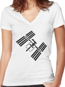 ISS (International Space Station) Silhouette Women's Fitted V-Neck T-Shirt