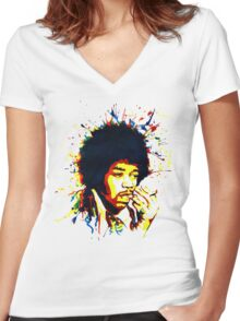 jimi colorful Women's Fitted V-Neck T-Shirt