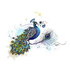 Blue Paisley Peacock by © Cassidy (Karin) Taylor