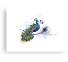 Blue Paisley Peacock Canvas Print