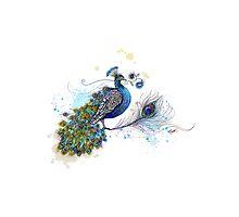 Blue Paisley Peacock Photographic Print