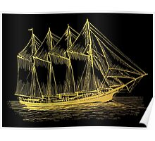 Gold Sailing Ship Poster