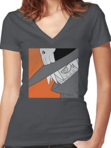 Wizardmon Halftone Women's Fitted V-Neck T-Shirt
