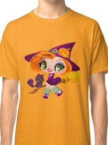 Little cute witch flying on a broom. Classic T-Shirt