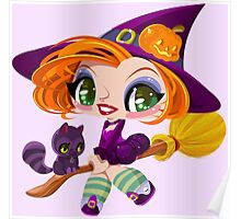 Little cute witch flying on a broom. Poster