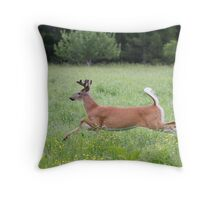 White-tailed deer in flight Throw Pillow