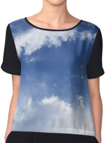 blue sky with white clouds Chiffon Top