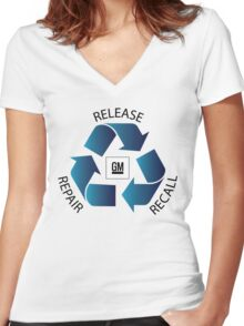 GM Recall and Repair Logo Parody Women's Fitted V-Neck T-Shirt