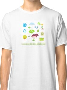 Recycle, nature and ecology icons isolated on white background Classic T-Shirt