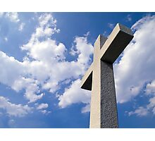 White Stone Cross Photographic Print
