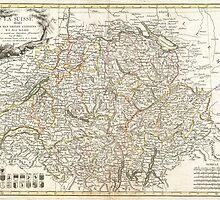 Vintage Map of Switzerland (1771) by BravuraMedia