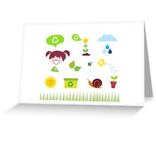 Agriculture, garden and nature icons isolated on white background Greeting Card