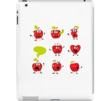 Funny red Apple fruit characters isolated on white background iPad Case/Skin