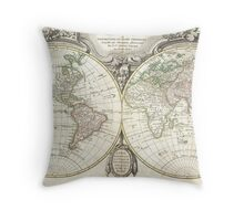 Vintage Map of The World (1775) Throw Pillow