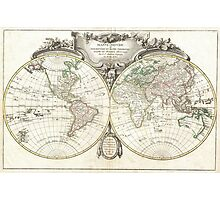Vintage Map of The World (1775) Photographic Print